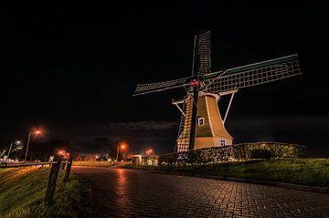 Moulin dans la nuit sur Johan van Esch