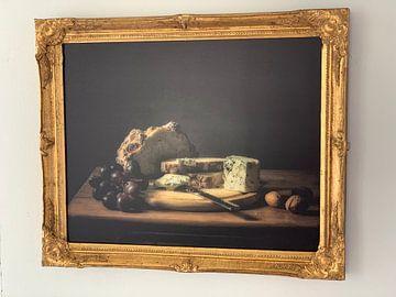 Photo de nos clients: Stillleben Brot, Trauben und Käse sur Monique van Velzen
