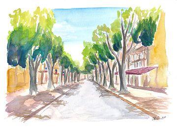 Aix en Provence Cours Mirabeau Straßenszene