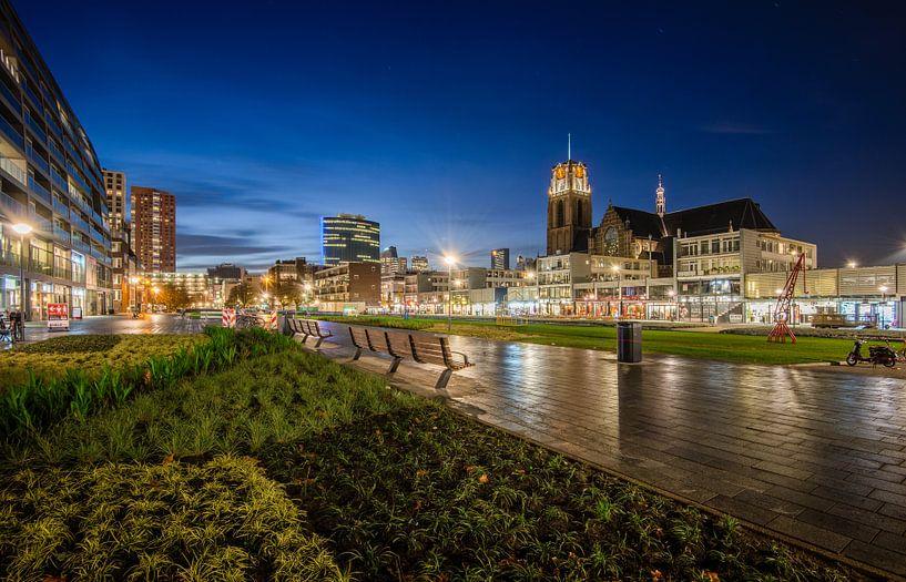 Hoogstraat Rotterdam   Blauwe Uur van Mark De Rooij
