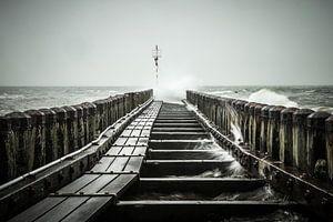 Woeste zee bij kazematten Vlissingen, Zeeland van