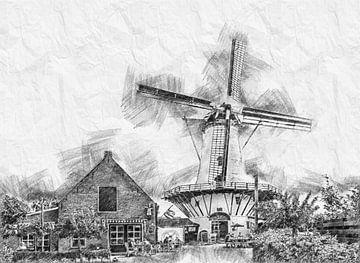 Pannekoekenmolen De Graanhalm in Burgh-Haamstede  (schets) van Art by Jeronimo
