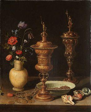 Nature morte avec fleurs et coupes d'honneur en or, Clara Peeters sur