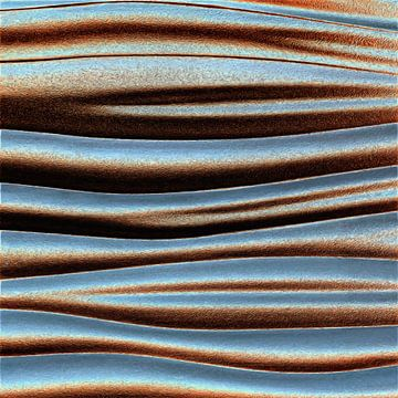 Abstract golvend lijnenspel in blauw en bruin tinten van Maurice Dawson