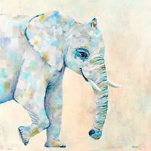 Elefant in Pastellfarben von Carmen de Bruijn