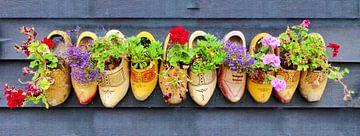 Hollandse gele klompen gevuld met geraniums van Jessica Berendsen