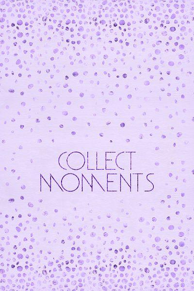 Tekst kunst VERZAMELEN MOMENTEN | glanzend paars van Melanie Viola