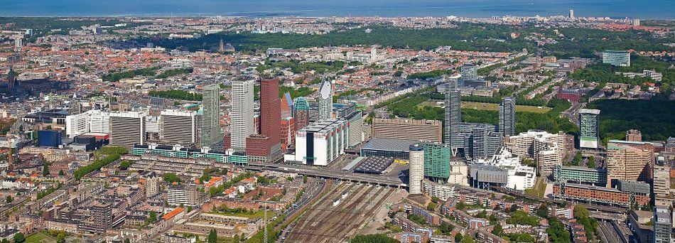Luchtfoto panorama Skyline Den Haag