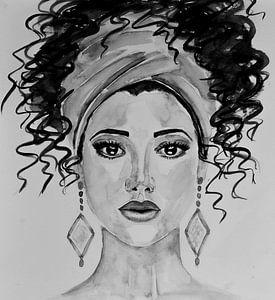 Aquarel vrouw in zwart wit van Bianca ter Riet