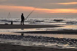 Sportvissen aan het strand van Wil van der Velde