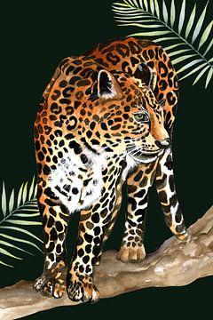 Leopard auf dem Ast von Geertje Burgers