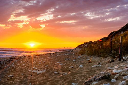 Ile d'Oleron, zonsonderdergang op het strand