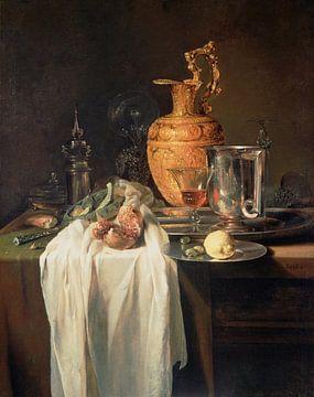 Stilleven met waterkan, vaten en granaatappel, Willem Kalf
