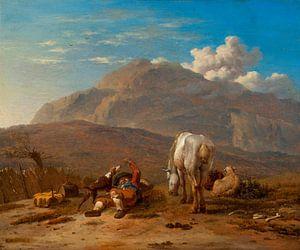 Italienische Landschaft mit einem jungen Schäfer, der mit seinem Hund Karel Dujardin spielt