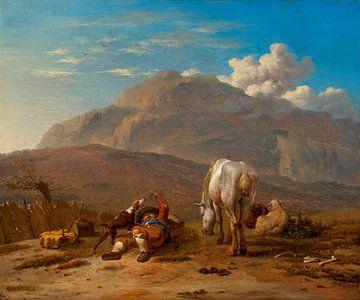 Italiaans landschap met een jonge herder, spelend met zijn hond, Karel Dujardin