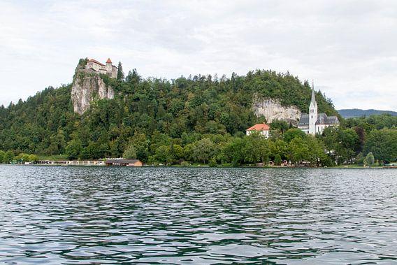 Zicht op het meer van Bled