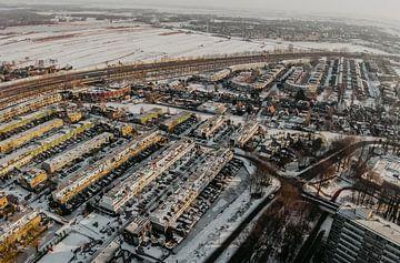 De Walvisbuurt Amsterdam, woonwijk architectuur in de sneeuw van Mike Helsloot