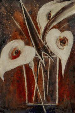 Callablüten - weiß auf rot von Christine Nöhmeier