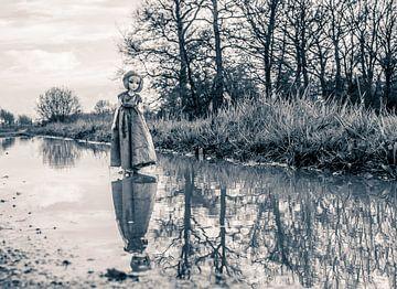 Reflectie in een plas water van Margreet van Tricht