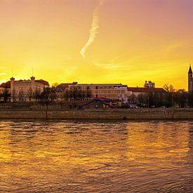 Magdeburg Skyline Panorama Sonnenuntergang von Frank Herrmann
