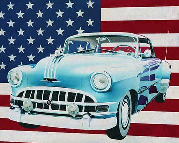 Pontiac Chieftain Hard Top 1950 met vlag van de V.S.