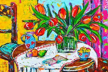 Vrolijke tulpen op tafel van Vrolijk Schilderij