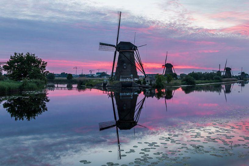 Zonsondergang Kinderdijk van Mark den Boer