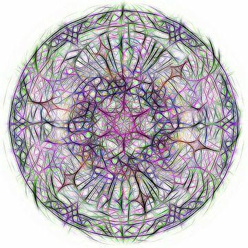 Mandala coloré sur fond blanc sur Rietje Bulthuis