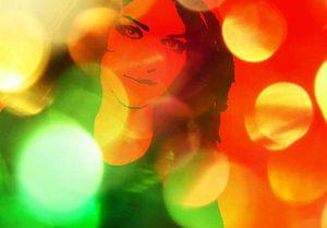 Woman in light circles
