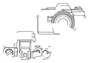 Analogkamera-Silhouette (Minolta X-500-Stil)
