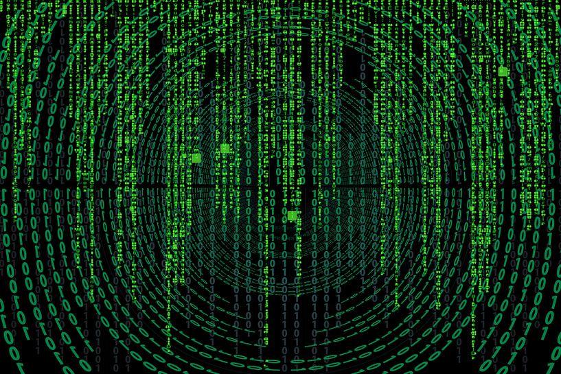 Matrix code op een scherm van Atelier Liesjes