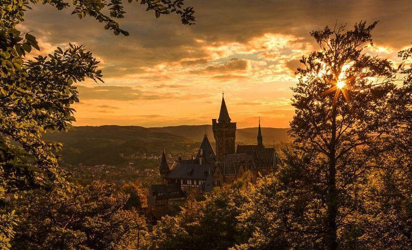 Wernigerode et son château au coucher du soleil sur Frank Herrmann