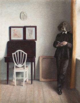 Interior with Young Dog Reading sur Marja van den Hurk