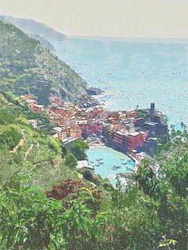 Kustlijn van de Cinque Terre bij Vernazza - Italie - Schilderij