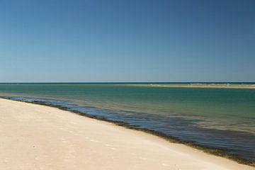 Helderwit strand met blauwe zee en lucht in Portugal