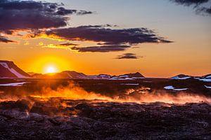 Zonsondergang Leirhnjukur IJsland van