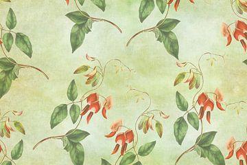 Vintage rood en groene tropische print sur