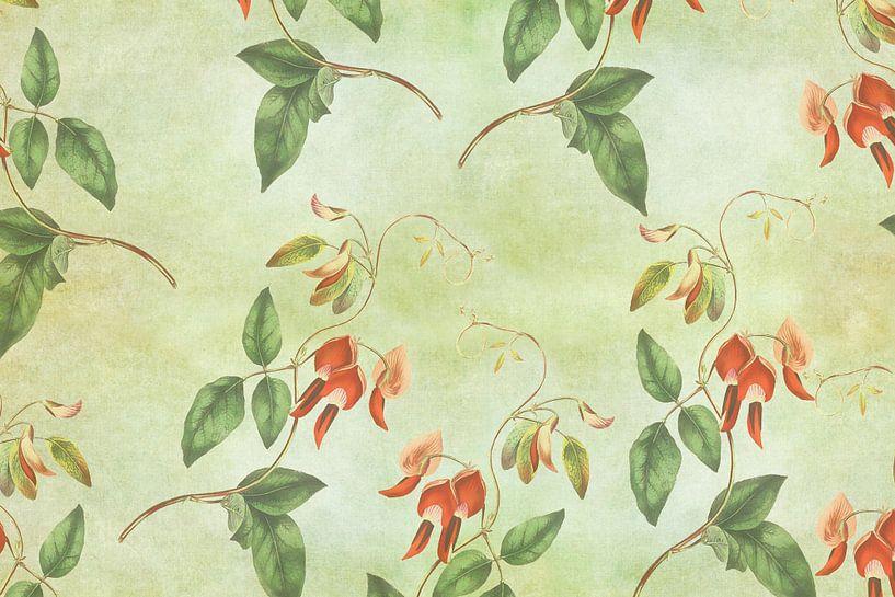 Vintage rood en groene tropische print van Vintage en botanische Prenten