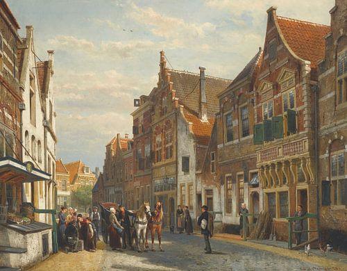 Schilderij Oudewater - Schilderij van de Wijdstraat te Oudewater in de zomer - Cornelis Springer van