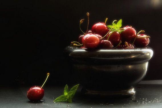 Elegant kitchen still life of cherries