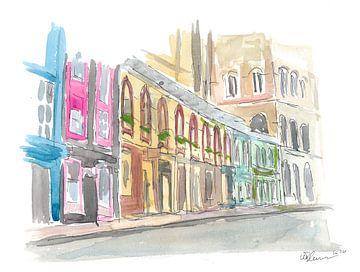 Edinburgh Schottland Straßenszene mit Läden von Markus Bleichner