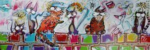 Katten op een muurtje Acryl schilderij cartoon stijl van Lineke Lijn