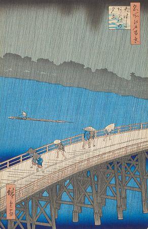 Ando Hiroshige. Downpour at Ohashi Bridge, Atake von 1000 Schilderijen