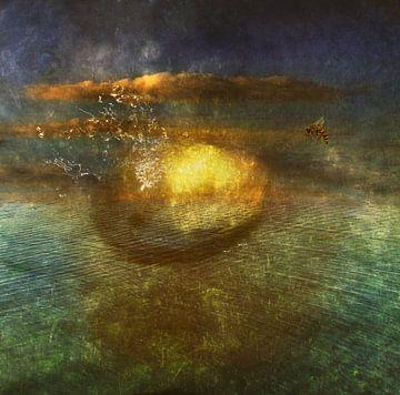 surrealistisch landschap met wesp van Marijke van Loon