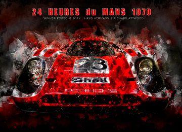 Porsche 917K, Le Mans winnaar 1970 in de nacht van Theodor Decker