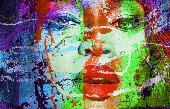 Motiv Naomi Portrait Campbell Splash  Pop Art PUR