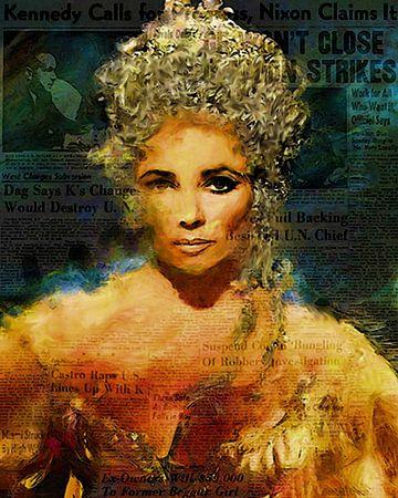 Cleopatra Elizabeth Taylor | Elizabeth Taylor Pop Art van Leah Devora