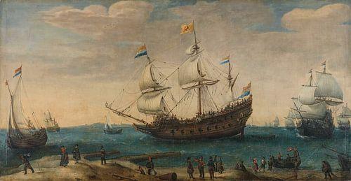 Een aantal Oost-Indiëvaarders voor de kust, Hendrik Cornelisz. Vroom van