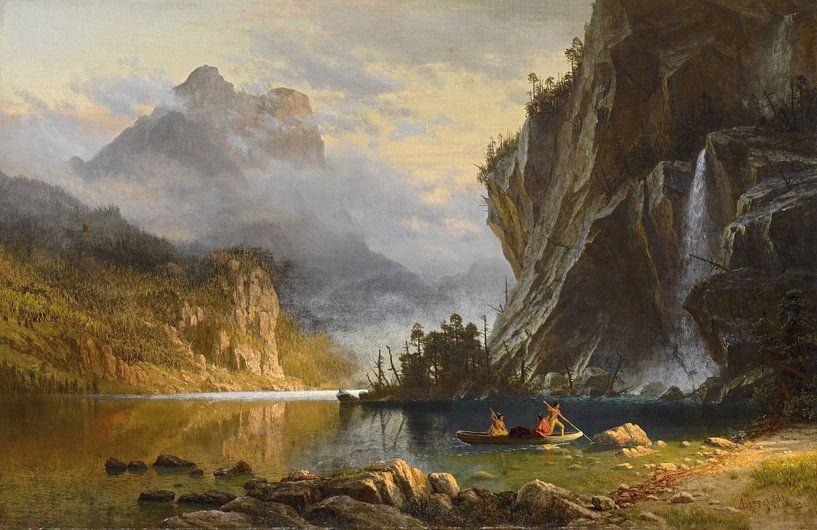 Albert Bierstadt. Indians Spear Fishing van 1000 Schilderijen