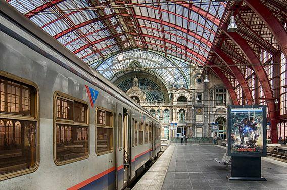 Een trein in Antwerpen Centraal van Don Fonzarelli